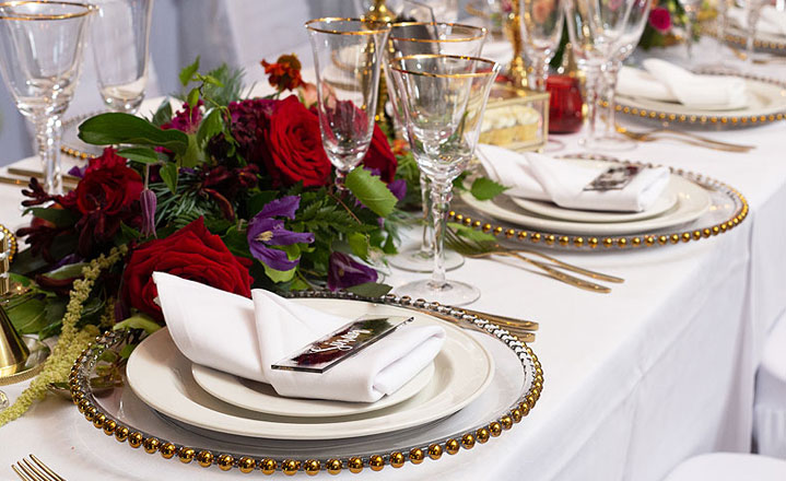 Gold beaded glass plates for aspirational weddings & events