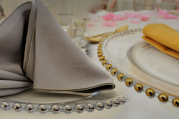 Gold & silver beaded glass plate hire