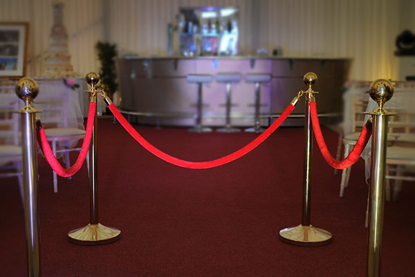 Gold VIP barrier posts & ropes hire
