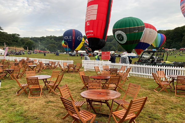 Hardwood furniture hire for outdoor events