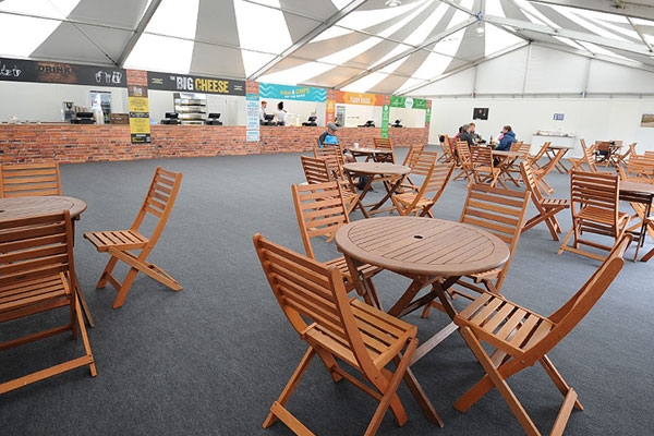 Hire hardwood furniture for indoor catering areas at your event