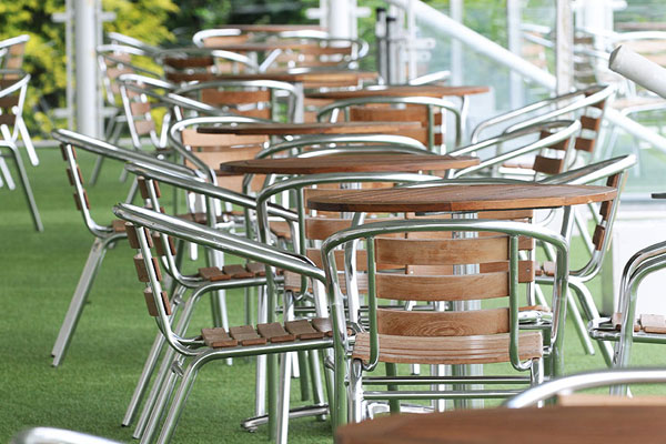 Teak & aluminium furniture hire for hospitality areas