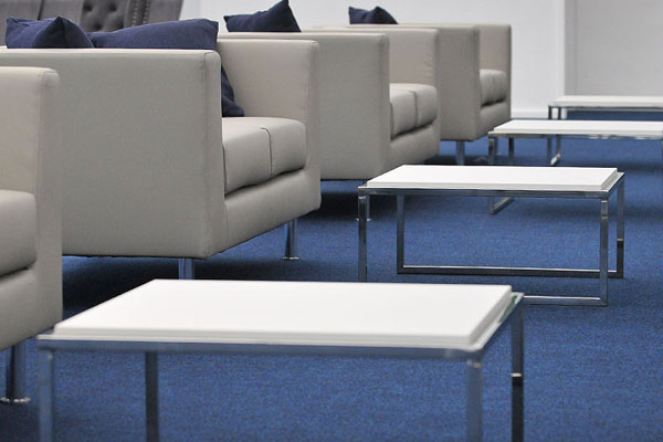 Modern sofa & coffee table hire for professional events