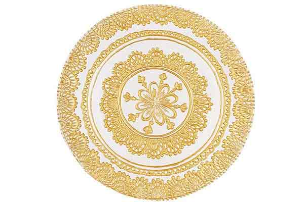 *NEW* Patterned gold glass charger plates