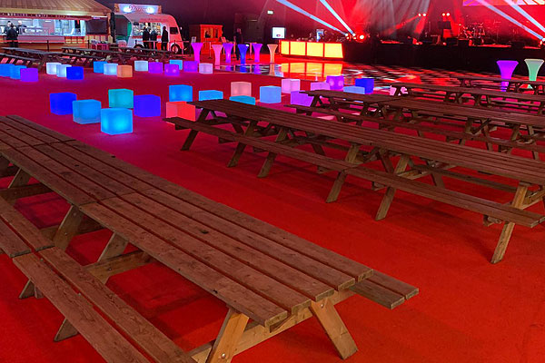 Picnic benches for indoor events