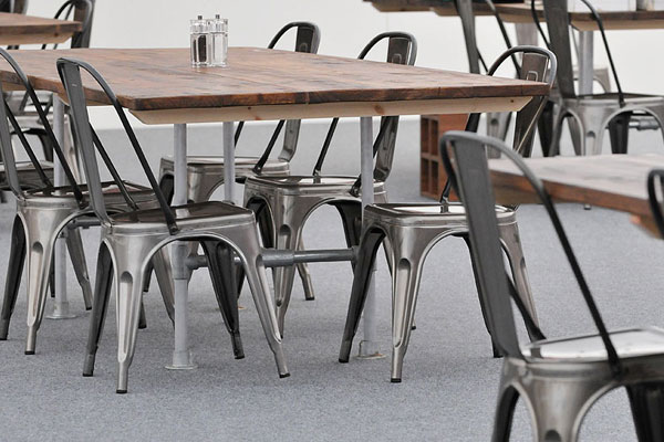 Scaffold dining tables & Tolix chairs