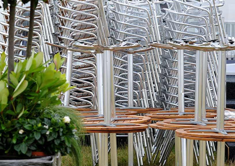 Outdoor teak & aluminium furniture hire