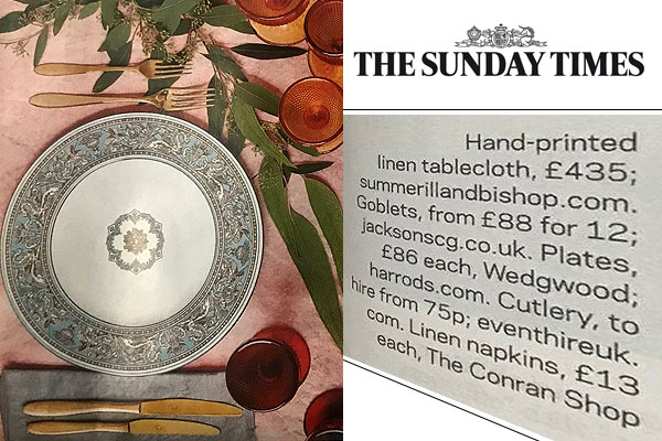 Our gold cutlery in The Sunday Times