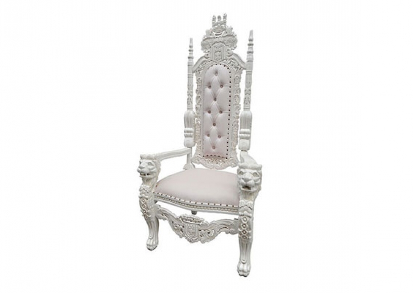 *NEW* White lion throne chair hire
