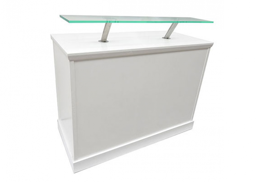 *NEW* White reception desk with perspex shelf