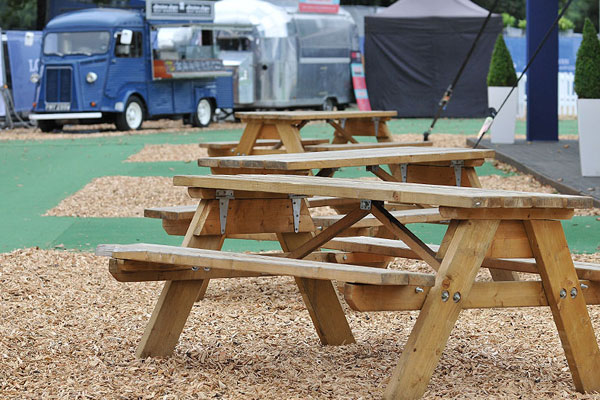 Wooden picnic benches are always in high demand