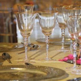 Gold Rim Stemware Glass Hire