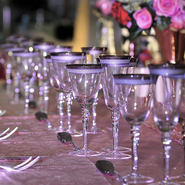 Patterned Silver Rim Stemware Glass Hire