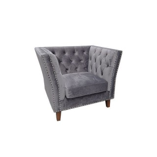 Grey Velour Marlborough Armchair