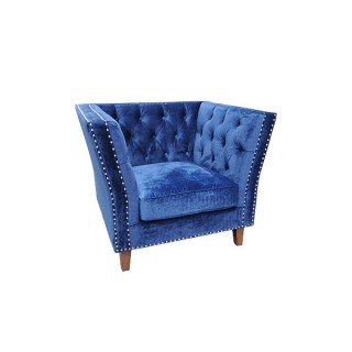 Blue Velour Marlborough Armchair