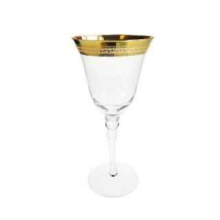 Patterned Gold Rim White Wine Glass
