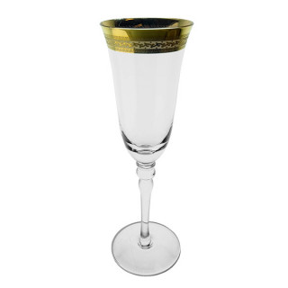 Patterned Gold Rim Champagne Glass