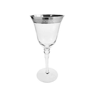 Patterned Silver Rim White Wine Glass