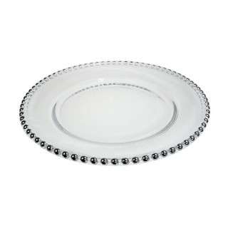 Glass Silver Beaded Plate