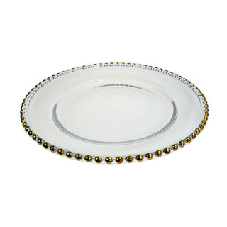 Glass Gold Beaded Plate