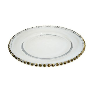 Gold Beaded Glass Plate