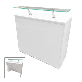 Modular White Reception Desk 500 With Perspex Shelf