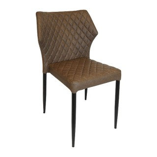 Brown Quilted Leather Dining Chair