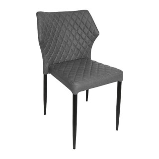 Grey Quilted Leather Dining Chair