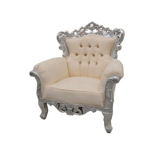 Silver Ornate Armchair