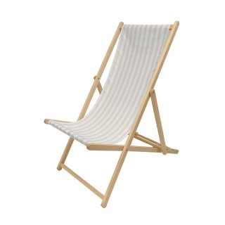 Light Grey & White Deckchair
