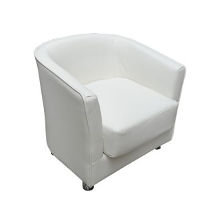Monaco White Leather Club Chair