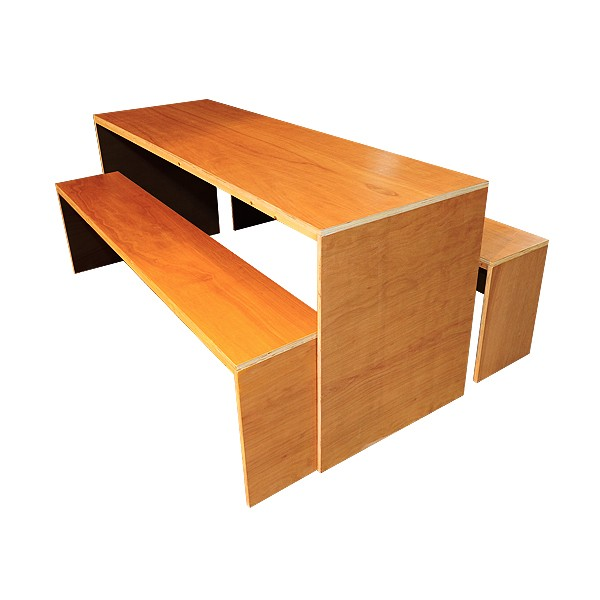 Contemporary Dining Table & Bench Set - Black