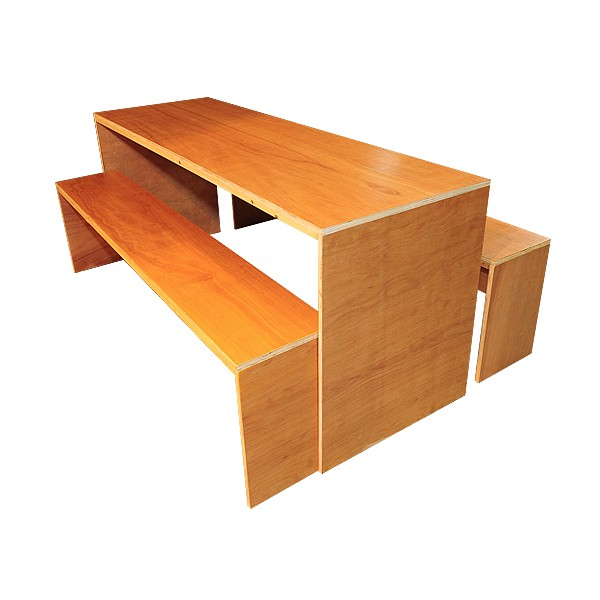 Contemporary Dining Table & Bench Set - Teak Effect