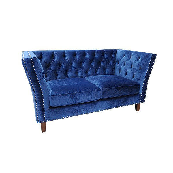Blue Velour Marlborough 2 Seater Sofa