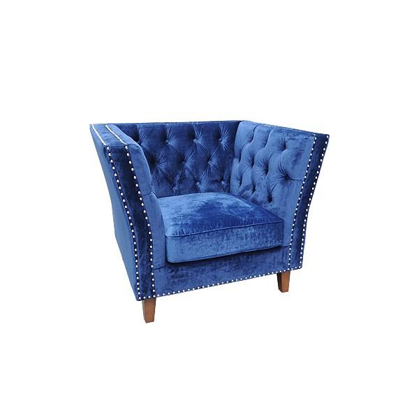 Blue Velour Marlborough Armchair