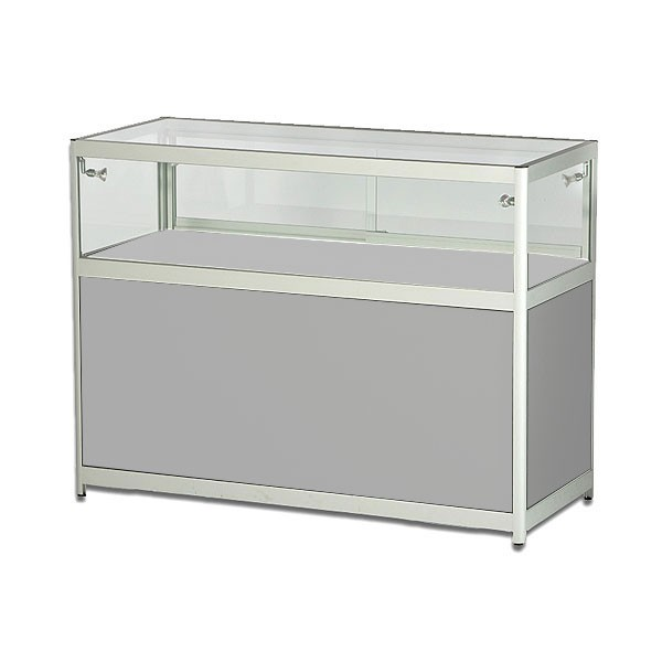 Grey Low Showcase With Cabinet