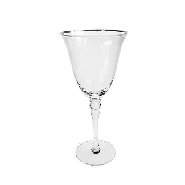 Silver Rim White Wine Glass