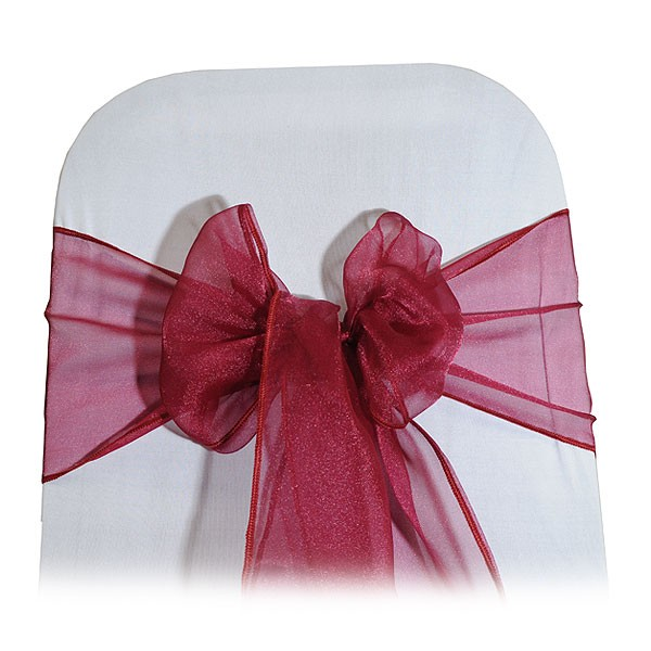 Burgundy Organza Chair Tie
