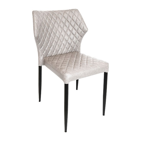 White Quilted Leather Dining Chair