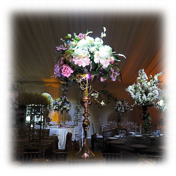 Blush Pink Flower Arrangement With Tall Gold Vase