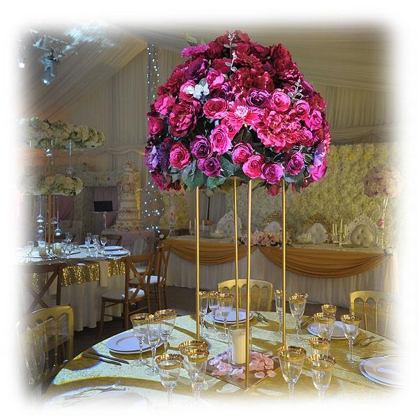 Cerise Pink Purple Flower Arrangement With Art Deco Stand Event
