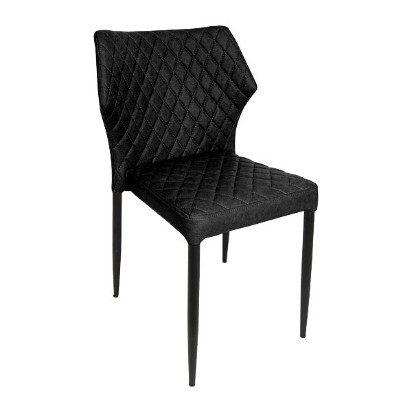 Black Quilted Leather Dining Chair