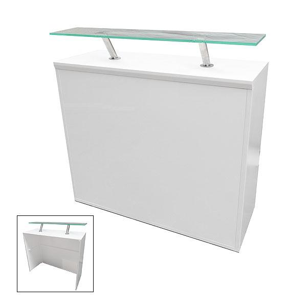 Modular White Reception Desk 450 With Perspex Shelf