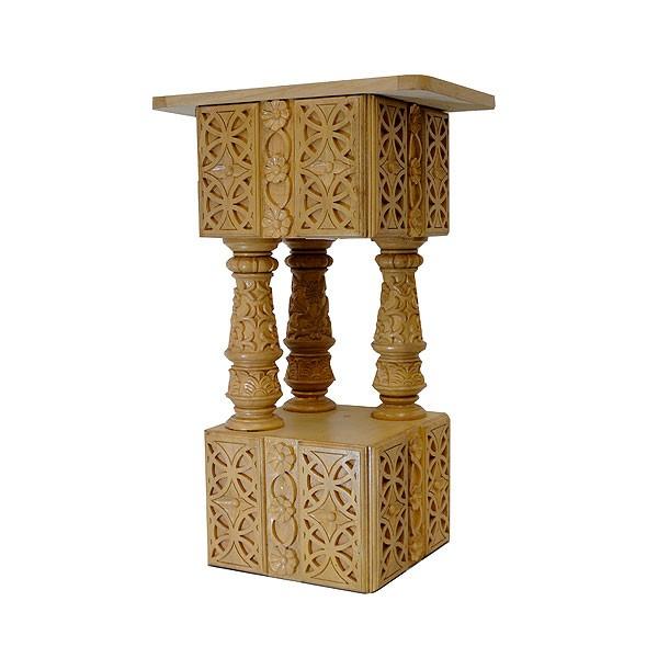 Ornate Hand Carved Wooden Pedestal