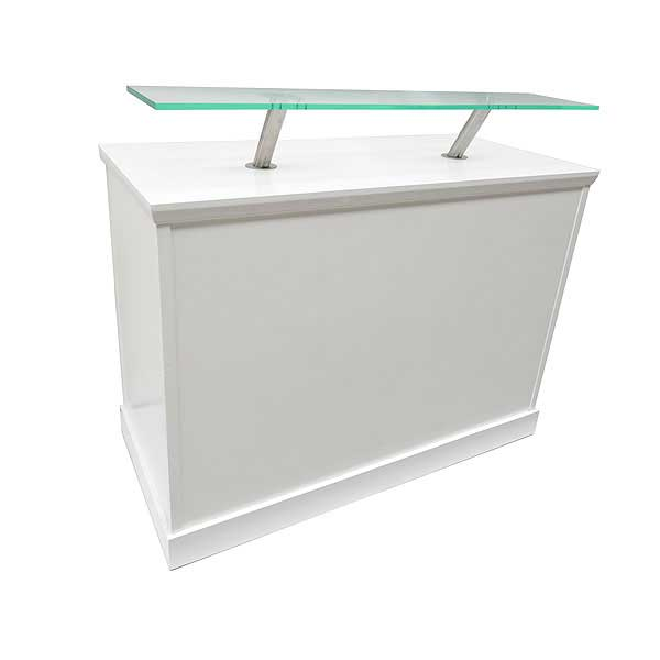White Reception Desk With Perspex Shelf