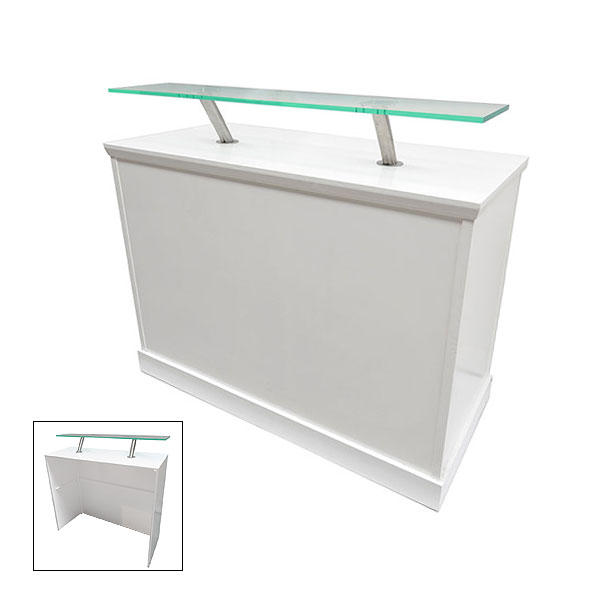 White Reception Desk With Perspex Shelf