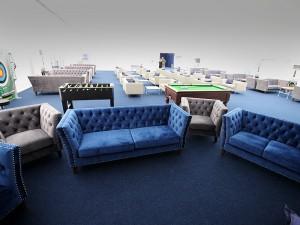 Blue Velour Marlborough 3 Seater Sofa