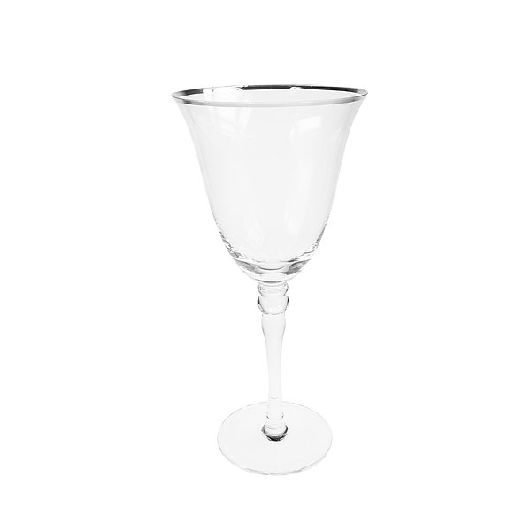 Silver Rim White Wine Glass