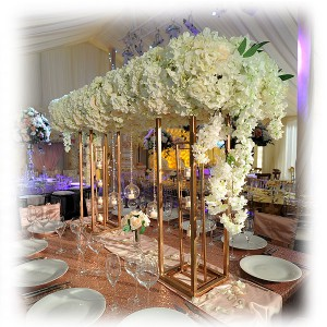 VIP Table Flowered Gold Frame Canopy
