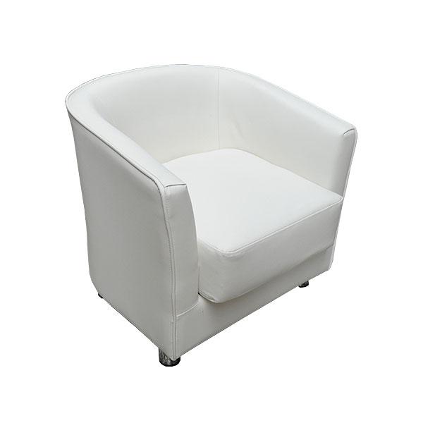 Monaco White Leather Club Chair
